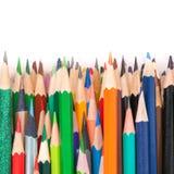 Sharp colorful pencils. Macro photo Royalty Free Stock Photos