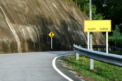 Sharp Curve. Sign along the curve danger road stock photography