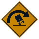 Sharp Curve. Danger of Overturning isolated road sign Royalty Free Stock Photography