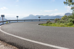 Sharp curve in the mountains. Of Gran Canaria stock images