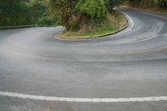 Sharp curve road. In mountain royalty free stock images