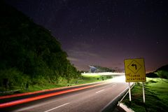 Sharp curve for the stars. Sharp curve to the stars on a night in the mountains stock photos