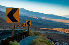 Dangerous Curve Lonely Desert Road royalty free stock photos
