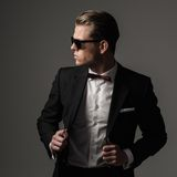 Sharp dressed fashionist wearing jacket Stock Photo