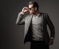 Sharp dressed fashionist wearing suit Stock Image