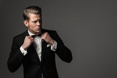 Sharp dressed fashionist wearing suit Royalty Free Stock Photo