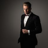 Sharp dressed fashionist wearing suit Royalty Free Stock Images