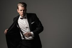 Sharp dressed fashionist wearing suit. Sharp dressed man wearing jacket and bow tie Stock Photos