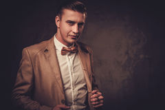 Sharp dressed man wearing jacket and bow tie Stock Image