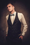 Sharp dressed man wearing waistcoat and bow tie Royalty Free Stock Images