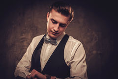 Sharp dressed man wearing waistcoat and bow tie Royalty Free Stock Image