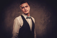 Sharp dressed man wearing waistcoat and bow tie Stock Images