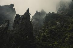 Sharp Edges. Looking up towards the sharp and dangerous cliffs of Huangshan Scenic Park Stock Photography