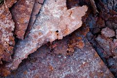 Sharp edges of the rusty metal sheets Royalty Free Stock Image