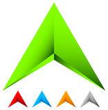 Sharp edgy 3d arrow icon in more color with bevel effect. Royalty free vector illustration Royalty Free Stock Images