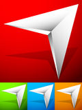 Sharp edgy 3d arrow icon in more color with bevel effect. Royalty free vector illustration Stock Photos