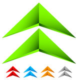 Sharp edgy 3d arrow icon in more color with bevel effect. Royalty free vector illustration Royalty Free Stock Photography
