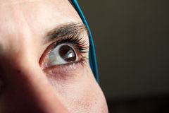 Sharp eye of arab muslim woman stock image