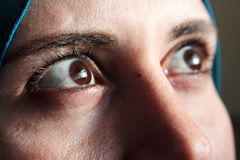 Sharp eyes of arab muslim woman royalty free stock images