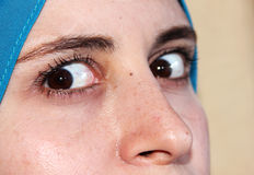 Sharp eyes of arab muslim woman stock photos
