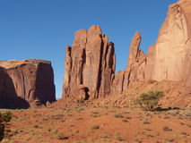 Sharp Fins. Rocky outcrops in Monument Valley of the desert Southwest Royalty Free Stock Images