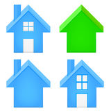 Sharp house 3D icon set isolated. On white vector illustration Stock Photos