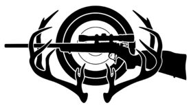 Hunting and Shooting Sports Vector Illustration. Sharp hunting and shooting sports logo with rifle, buck antlers and a target, crisp black silhouette vector royalty free illustration