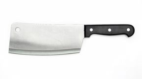 Sharp knife of the butcher. Isolated on white Stock Photos