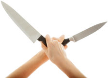 The sharp knife held crosswise Royalty Free Stock Photos
