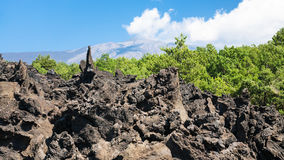 Sharp lava stones after volcano Etna eruption Stock Image