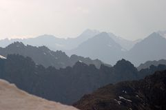 Sharp mountain ridges. Of Terskey alatau range, Kyrgyzstan Royalty Free Stock Image