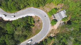 Sharp Mountain Road Curve HD Aerial Shot. stock footage