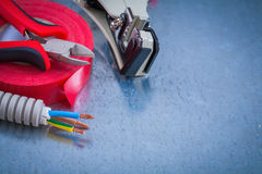 Sharp nippers electric corrugated pipe wires strippers and insul Stock Image
