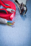 Sharp nippers electric corrugated tube wires strippers insulatio Royalty Free Stock Photo