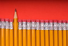 The Sharp One - on red. A sharp pencil amid a number of pencils eraser end up. Concept of a sharp or different individual or object amid many similar objects royalty free stock photo