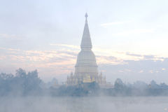 Sharp pagoda gold with steam Royalty Free Stock Photo
