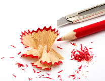 Sharp pen with knife. Office Royalty Free Stock Photos