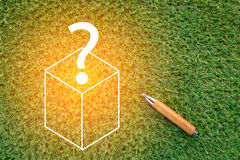 Sharp pencil with box and question mark Stock Photography