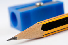Sharp pencil and sharpener Stock Photo