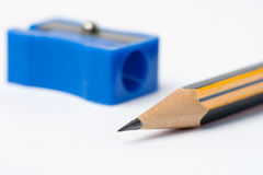 Sharp pencil and sharpener Stock Photos