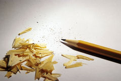 Sharp pencil and shavings Stock Photo