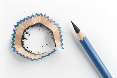 Sharp pencil and shavings Stock Images