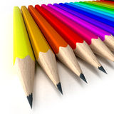 Sharp pencil tips. 3D rendering of a pencil arrangement in every color shade Royalty Free Stock Images