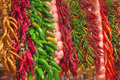 Sharp peppers at the market. Royalty Free Stock Photos