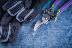 Sharp pruning shears safety gloves on metallic background Royalty Free Stock Photography