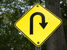 Sharp right turn sign Royalty Free Stock Photo