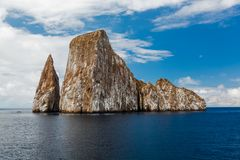Sharp rock or islet called León Dormido Royalty Free Stock Images