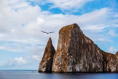 Sharp rock or islet called León Dormido Royalty Free Stock Photography