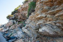 Sharp rock near the trees growing on it royalty free stock photography