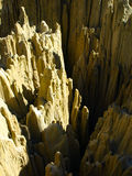 Sharp rock pillars in bolivian Moon Valley Royalty Free Stock Image